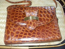 BROWN CROC EMBOSSED LEATHER BAG RETRO GOLD DETAIL
