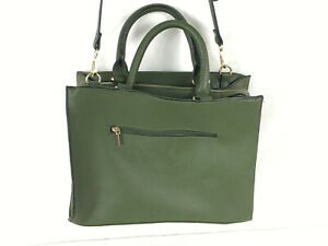 A New Day Green Pebbled Material Multi Pocket Bag w Convertible Strap & Handles
