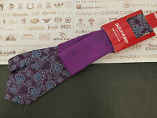 DUCHAMP Silk Tie Hankie Set Floral Dk Pur Long Tie & Purple P.Square BNWT RRP£90