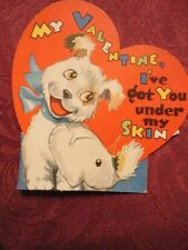 Valentine Card Got u Under My Skin Dog with Fleas Moving Stands Used Vintage