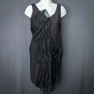 3.1 Philip Lim Womens Dress Size 2 Black Linen Blend Sleeveless Ruffled Shift