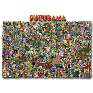 Futurama Characters Cartoon Art Silk Poster 12x18 24x36 inch 007