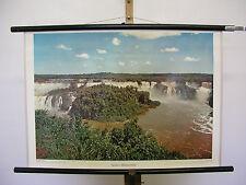 Beau la fresque IGUACU-eau cas Brésil Argentine 75x52cm Vintage ~ 1960