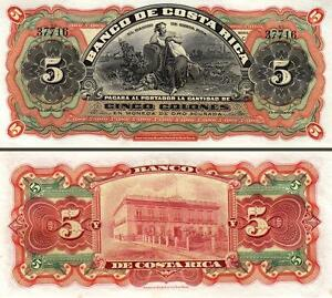 COSTA RICA 5 COLONES 1901 1908 UNC But aUNC P.S173R-WOMAN