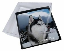 4x Siberian Husky 'Love You Dad' Picture Table Coasters Set in Gift Box, DAD-49C