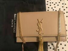 YSL//Yves Saint Laurent//Beige/Nude Small Gold Tassel Wallet on Chain Bag AUTH N