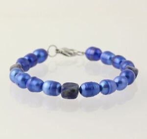 NEW Dyed Ringed Freshwater Pearls & Sodalite Bracelet - Stainless Steel Clasp
