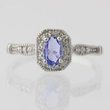 New Tanzanite Halo Ring - Sterling Silver Diamond Accents Size 8.25 Oval 0.42ct