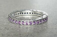 """AUTHENTIC PANDORA """"ETERNITY RING - PURPLE"""" .925 Sterling Silver Ring 52 - PN1"""