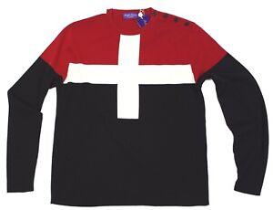 $995 Ralph Lauren Purple Label Wool Color Block Red Black Crew Neck Sweater NWT