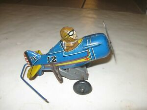 50s EARLY VINTAGE MARX TIN LITHO WIND-UP AIRPLANE TOY NUMBER 12 WITH PILOT