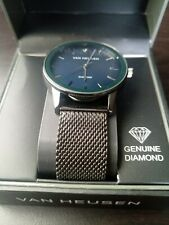 Van Heusen Van8509 Black face, black band, Analog Watch, Genuine Diamond