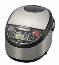Tiger JAX-T10U-K 5.5-Cup Micom Rice Cooker with Food Steamer Slow Cook S/S Black