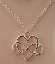Delicate Celtic Love Knot Infinity Valentine Heart Pendant Necklace