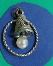 STERLING SILVER VINTAGE BRACELET CHARM H30    BELL WITH PEARL