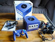 """Console Nintendo GAME CUBE GC violet """"prête à jouer"""" : câbles, manette et boite"""