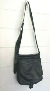 Ann Demeulemeester Womens Messenger Bag Black Leather Double Sided Buckle Lined