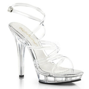 Fabulicious LIP-106 Shoes Clear Clear Criss Cross Ankle Strap Open Toe High Heel