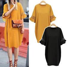 New Women Ladies Casual Tunic Dress Short Sleeve AU Size 20 22 24 26 28 30 02011