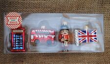 Set of 4 small mini Glass Christmas Tree Decorations Ornaments Baubles London