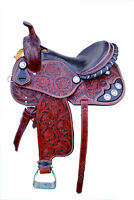 "Western Tan Leather Hand Carved Barrel Racer Saddle /Black Paint Inlay 16"" 1046"