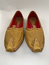 Men's Indian Wedding Shoes Mojari Groom Men's Size 12 Genie Leather Yellow Gold