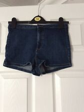 Topshop Moto High Waisted Blue Denim Shorts/hotpants Size 10 W28 Vgc