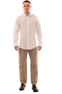 BRIAN DALES Linen Shirt Size 44 / 17 1/2 / XL White Regular Collar Made in Italy