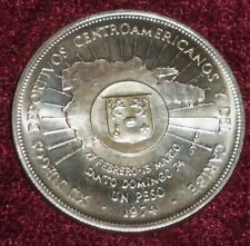 SCARCE CHOICE 1974 DOMINICAN REPUBLIC .900 SILVER UN PESO, 27 Gms. TW, EXCELLENT