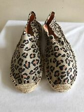 NWOB $42 SOLUDOS Dali Canvas Espadrille Flats Shoes Size 9, Animal Print