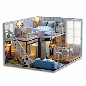 DIY Wooden Miniature Doll House Kit Plus Dust, Furniture Included, Kids Toys
