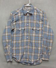 Z7639 Men's Wrangler Blue Plaid Button Down Long Sleeve-Small