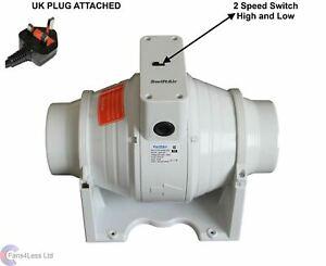 SALE XFLO100S in line Mixed Flow 4'' Hydroponics Bathroom Extractor Fan UK PLUG