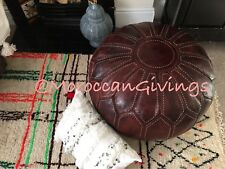XXL Moroccan Hand Stitched 100% Leather Pouffe / Floor Cushion / UNSTUFFED