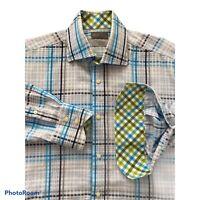 THOMAS DEAN Mens Shirt Large Button up Flip Cuff Stripe Blue White Black
