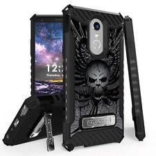 For LG Stylo 4 Q710 Tri Shield Hybrid Kickstand Fusion Armor Case Skull Wings