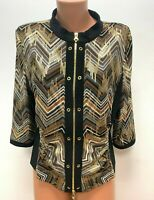 JOSEPH RIBKOFF size UK 16 Brown Grey Black Gold Jacket Cardigan Zip