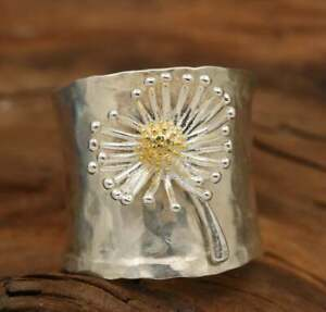 Pretty Flower 18K Yellow Gold Filled Ring For Woman Engagement party Gift Size 8