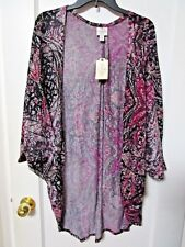 NWT Women's St. Johns Bay PINK GRAY Floral Cardigan Size Petite XL - MSRP $44