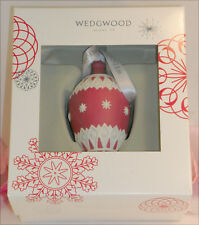 New Wedgwood Red and White Jaspeware Christmas Red NeoClassical Bauble Teardrop