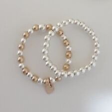 14K Gold Filled & Solid Sterling Silver Bead Ball Stretch Ring Set