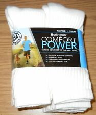 BURLINGTON Comfort Men Athletic Socks 10 Pack Crew Thick 80% Cotton White/Gray
