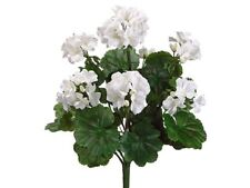 "19"" Water-Resistant Geranium Bush White (Pack of 6) Artificial Flower Silk Plant"