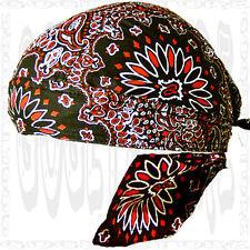 Black-Red Paisley Do Bandana Cool SKULL CAP Du RAG Head Wrap Biker Doo Hat