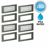 Set of 4 Modern Outdoor Stainless Steel Garden Recess Wall LED Brick Light IP54
