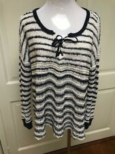 Free People Blue White Striped Knit Sweater Tunic Top Sz S