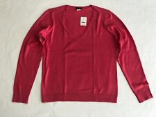 Women's JCREW Coral Pink V-Neck Cotton & Cashmere Sweater - Large