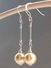 VINTAGE anni'50 perle di vetro Crema Argento Sterling Orecchini Pendenti-Abiti da Sposa