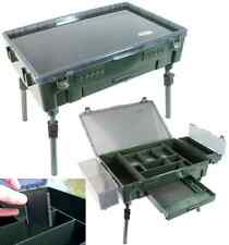 Q-DOS CARP FISHING TACKLE BOX SYSTEM BIVVY TABLE RIG STATION ON LEGS FOR TACKLE