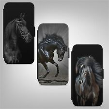Beautiful Black Horse FLIP WALLET PHONE CASE COVER FOR IPHONE SAMSUNG HUAWEI